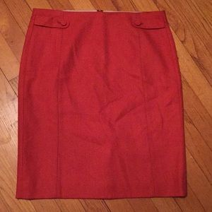 J. Crew Orange Wool Pencil Skirt